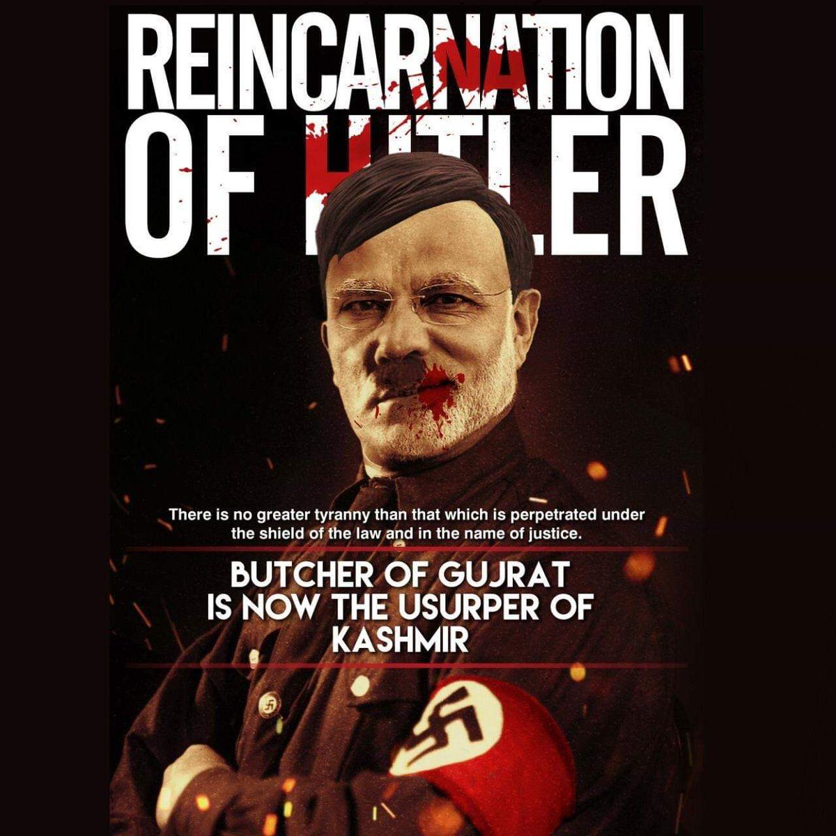 """""""Butcher of Gujrat (Narendra Modi) is now the usurper of Kashmir"""", There is no great tyranny than that which is perpetrated under the shield of the law and in the name of justice 