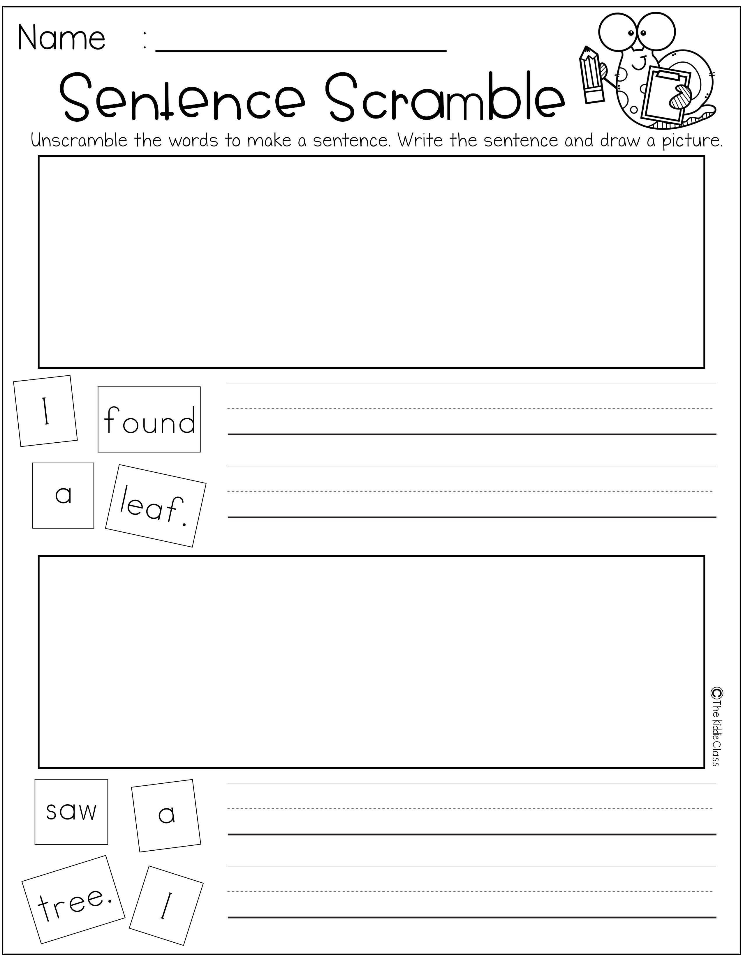 Re 4 Pages Of Free Sentence Scramble Worksheet In This Packet Students Will Practice Writing And Drawing In Each Page This Packet Is Perfect For Kindergarten