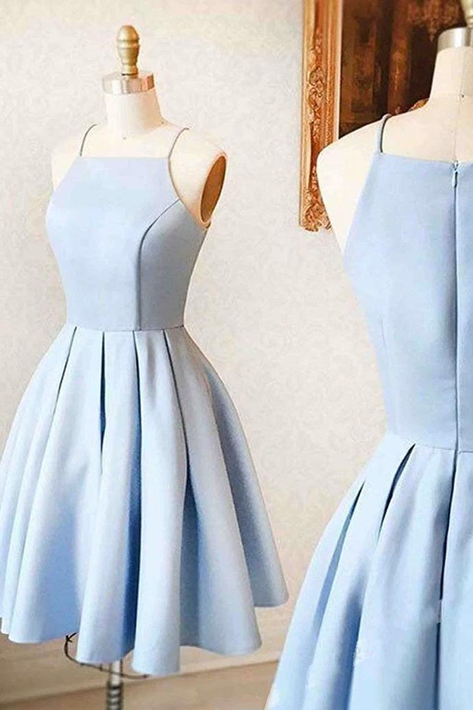 2020 beautiful blue halter sleeveless school event dress spaghettistraps homecoming dress short evening party dress,GGD531206 - Light blue prom dress, Dresses for teens, Light blue homecoming dresses, Cute homecoming dresses, Homecoming dresses short, Simple homecoming dresses - cm Occasion Date          2, How to Order Step1 click on  Add to Cart  Step 2 choose check out Step 3 fill your Standard size or Custom size,to make perfect fit,we suggest fill your custom size,please read  How to Measure  Step 4 Check Out,and write your detail shipping information including shipping phone no  3, Delivery time Rush order within 15 days, please add $30 00, Total time 2030 days Processing time 1320 business days Shipping Time 710 business days 4, Shipping by UPS or DHL,and so on 5, Payment Paypal 6,Customers Need To Know  All of the dresses are not  on the shelf  We strongly recommend you to select  Custom Made  to ensure the dress will fit you when it arrives  Our tailors will craft each dress to order even for a standard size   Return Policy We will accept returns if dresses have quality problems, wrong delivery time, we also hold the right to refuse any unreasonable returns, such as wrong size you gave us or standard size which we made right, but we offer free modify  We provide custom dresses,only after you put the order ,then the dress will be made So after you receive the dress,just because you don't like it,without any quality problems,we can not accept return Hope understanding  Please see following for the list of quality issues that are fully refundable for Wrong Size, Wrong Color, Wrong style, Damaged dress 100% Refund or remake one or return 50% payment to you, you keep the dress  In order for your return or exchange to be accepted, please carefully follow our guide 1  Contact us within 2 days of receiving the dress (please let us know if you have some exceptional case in advance) 2  Provide us with photos of the dress, to show evidence of damage or bad quality, th