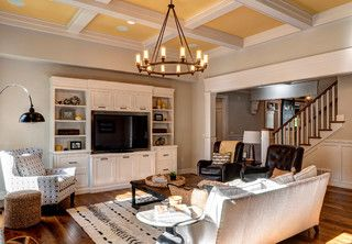Tray Ceiling With Wheel Chandler And White Built Ins In Custom