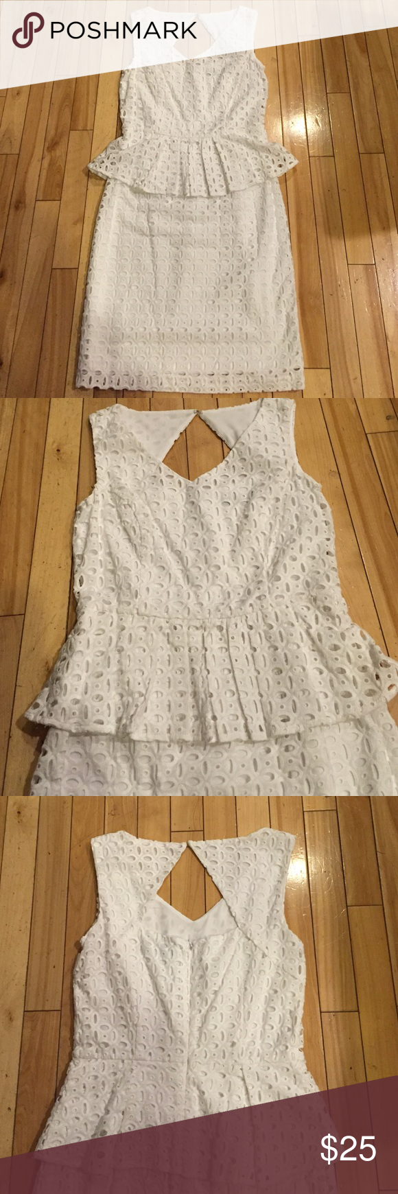 Ellen Tracy eyelet Peplum dress Cute and comfortable dress. Keyhole back with zipper. Fully lined. 100% cotton. Perfect condition! Ellen Tracy Dresses Midi