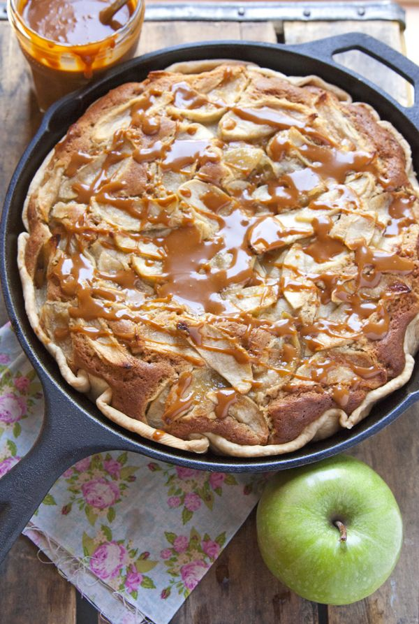 Apple Pecan Skillet Cake with Dulce de Leche Glaze