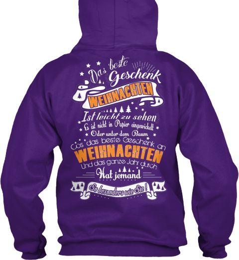 Das Beste Geschenk Weinnachten Ist Leicht Zu Sahen & Ust Night In Papier Eingeurickett Oder Unter Dem Baum Purple Sweatshirt Back