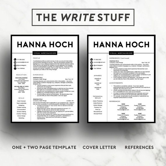 Resume template for Word and Pages Fashion resume Job - interview resume