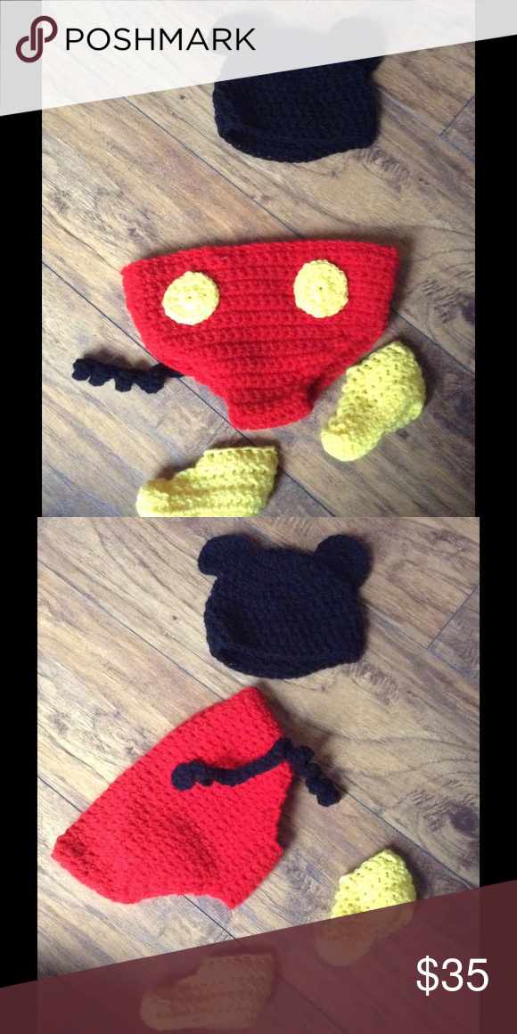 Mickey Mouse Crochet 6-12 Month Costume Handmade in excellent condition.Check out my other items and make a bundle😉 Handmade Costumes Halloween