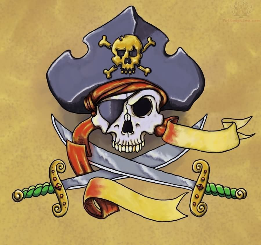color pirate skull and knifes tattoo design www.Hoggifts.com