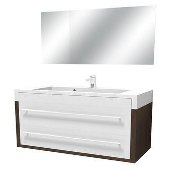 Tiger Boston laden met spiegel chroom wengé wit 105 cm ...