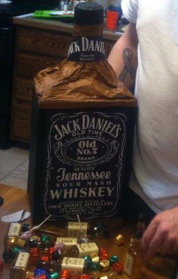 Jack Daniels piñata for my husband. Filled with mini jack ...