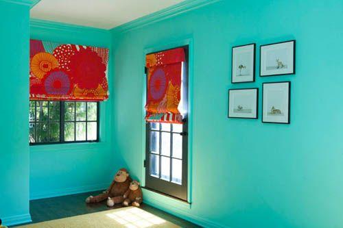 Une chambre d\'enfant en bleu turquoise | Kids rooms and Room