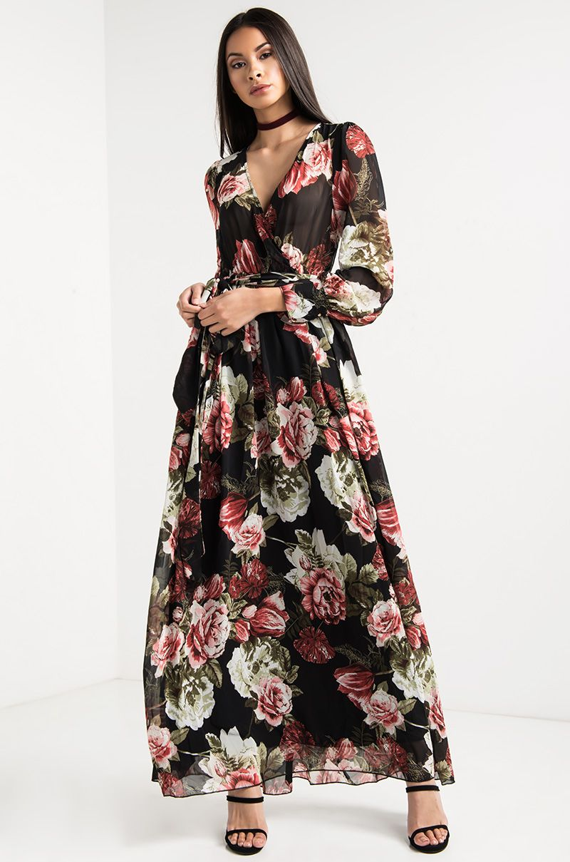 Plunging Neckline Partially Sheer Floral Maxi Dress in Black