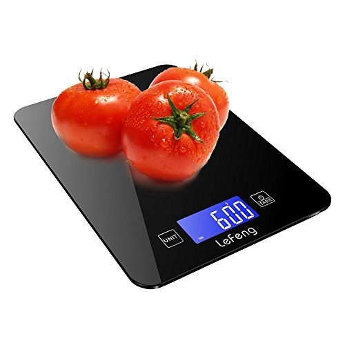 Lefeng Digital Kitchen Food Scale With Touch Screen Black Tempered