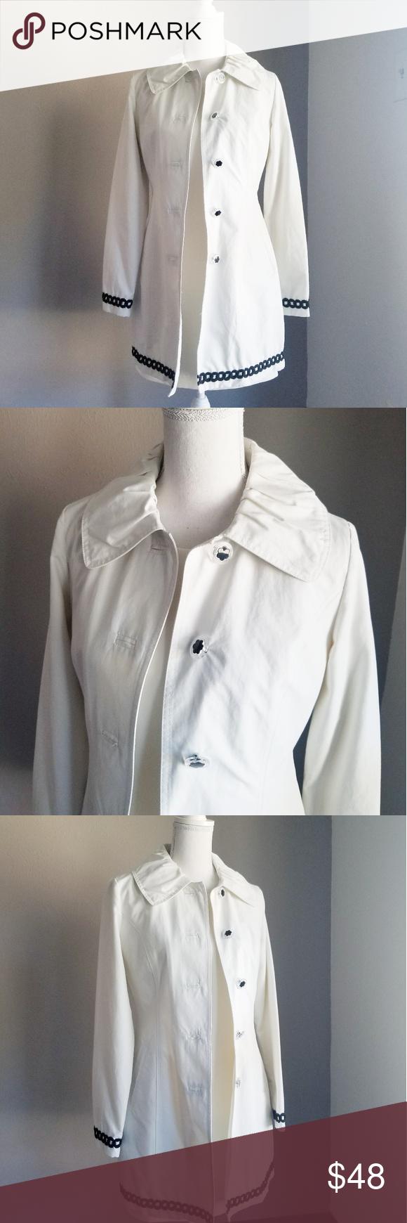 Laundry By Design White Mod Long Raincoat Jacket Raincoat Jacket Clothes Design Long Rain Coat