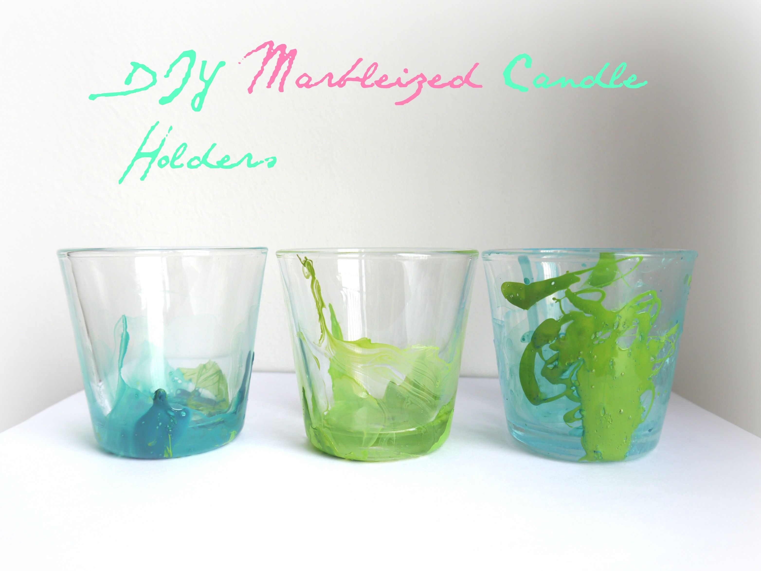DIY Marbleized Candle Holders. How to marble glass with nail polish ...