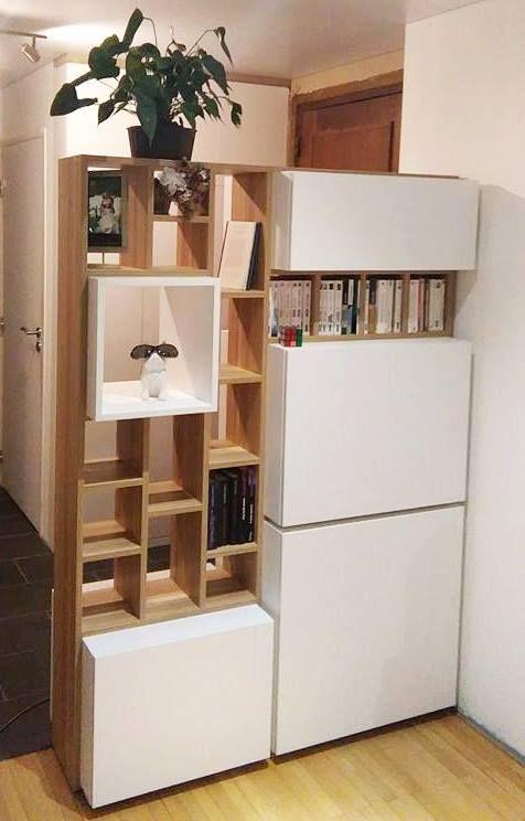 bibliothque meuble de sparation dentre avec bureau intgr en bois et blanc