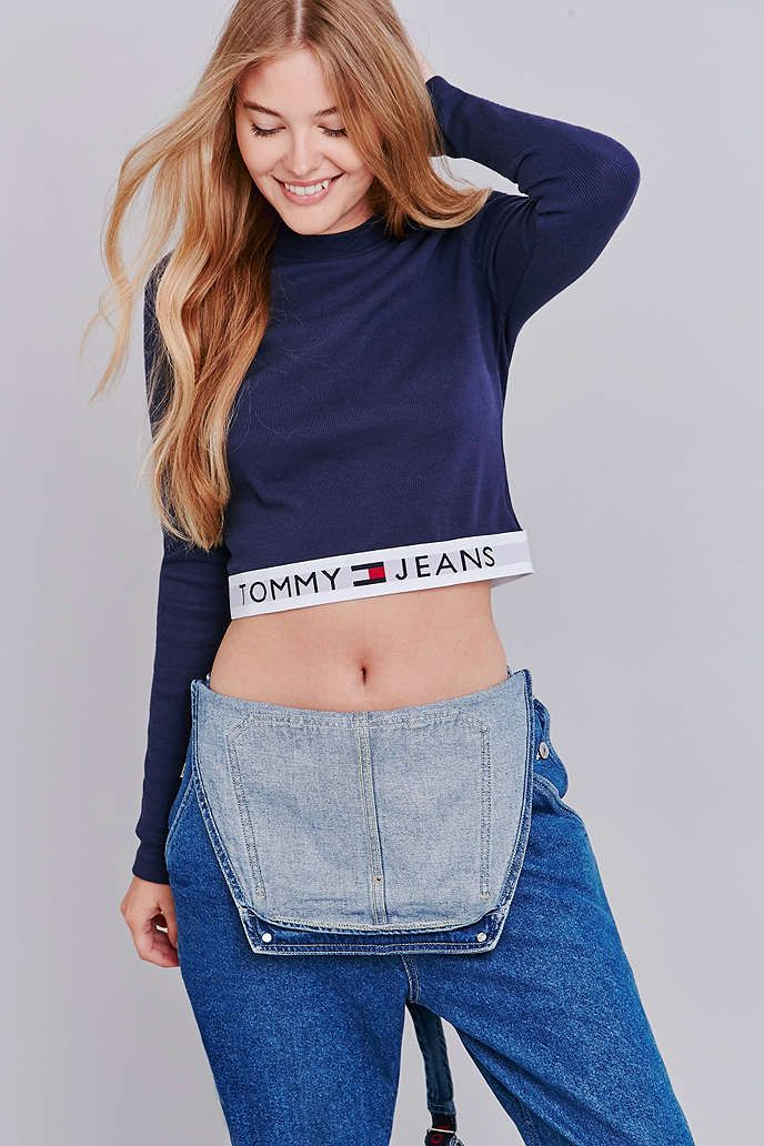 c58fb03d9 Tommy Jeans Banded Navy Long Sleeved Crop Top | Urban Outfitters ...