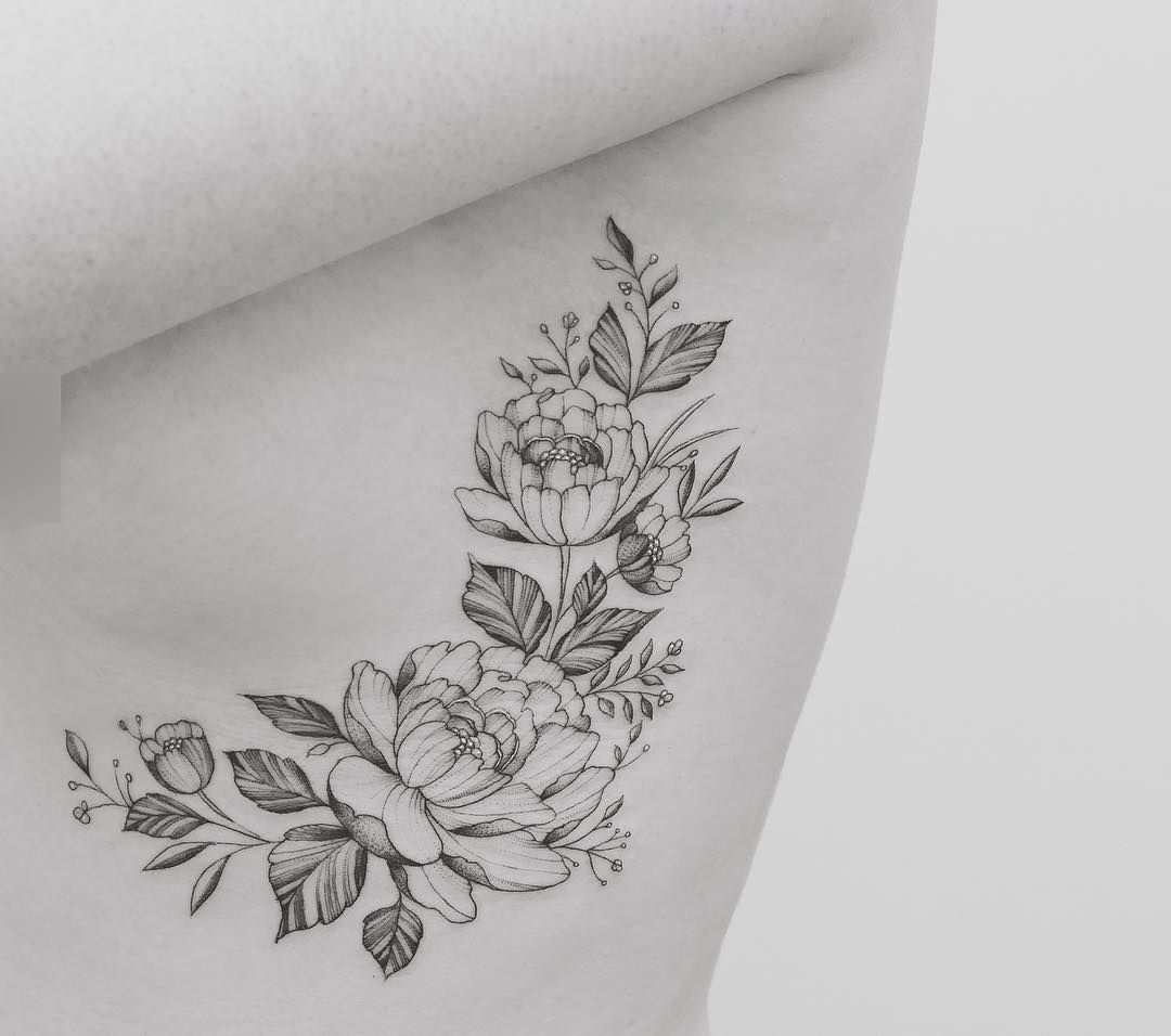 Rib Cage Flower Tattoo: Pin On Tattoos