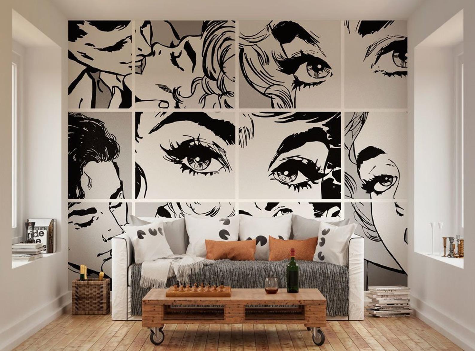Black White Pop Art Wall Mural Self Adhesive Removable Etsy Pop Art Decor Interior Art Art Decor