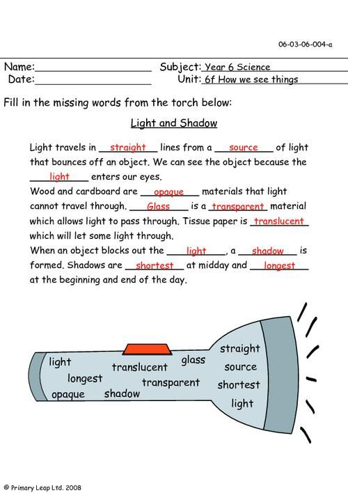 PrimaryLeap.co.uk - Light and shadow Worksheet | Science ...