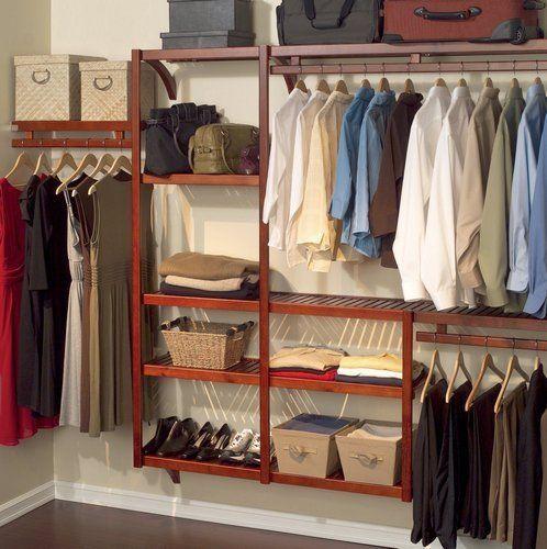 Wood Closet System Storage Organizer Home Shelves Shelf Clothes Wardrobe  Rack   EBay