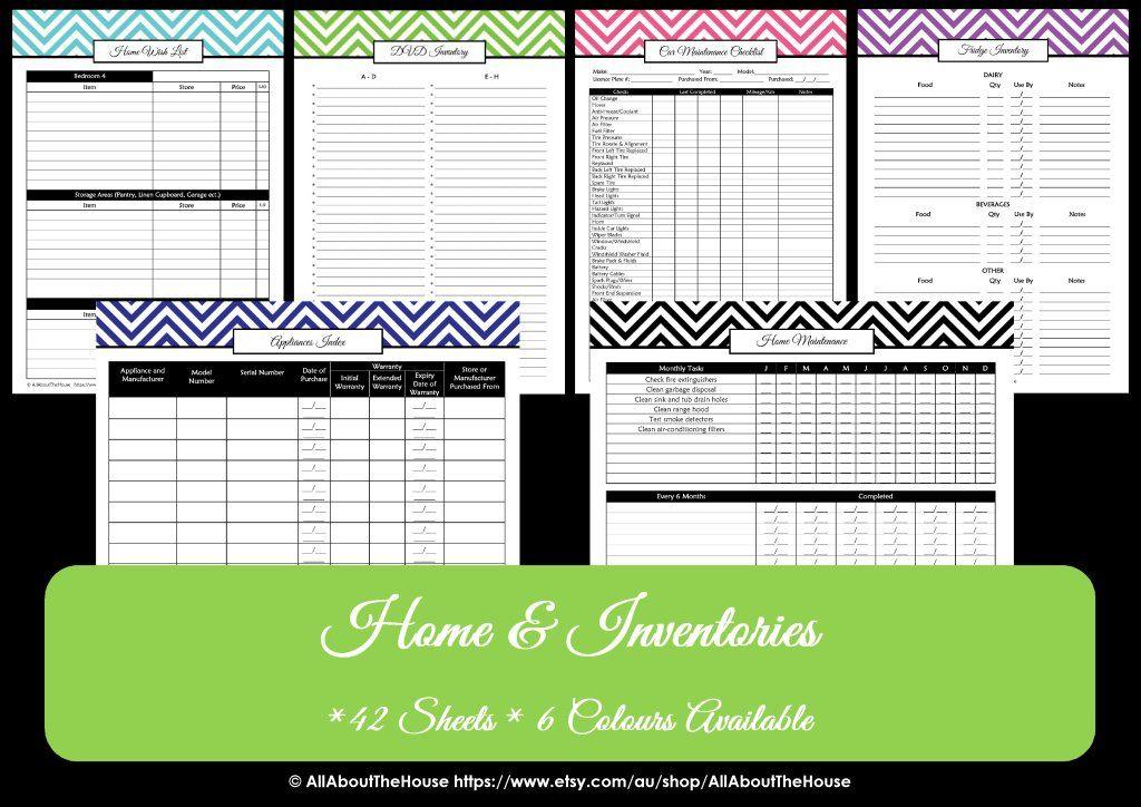 Home inventories household binder home maintenance