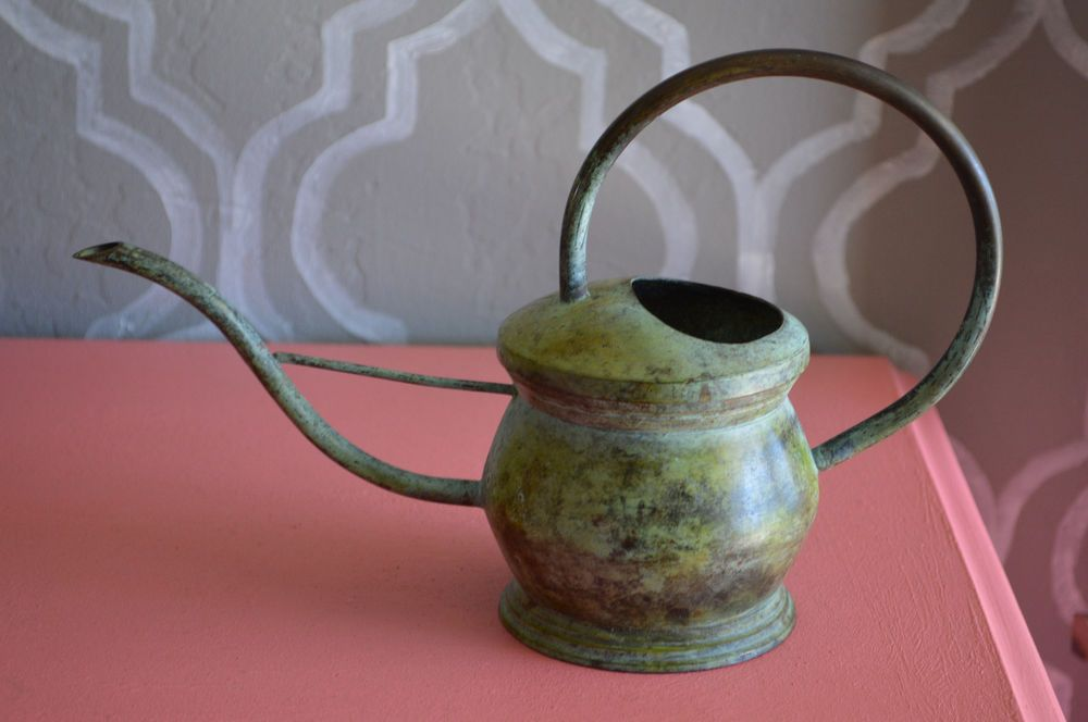 Vintage Green Metal Flower Watering Can, Flower Planter, Green Metal Container
