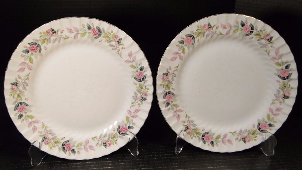 TWO beautiful Creative Regency Rose # 2345 Dinner Plates with Gold Trim and gentle swirl around the rim. We Love Creative Fine China! & Pin by D \u0026 R Vintage Dinnerware and Replacements on Collectible ...