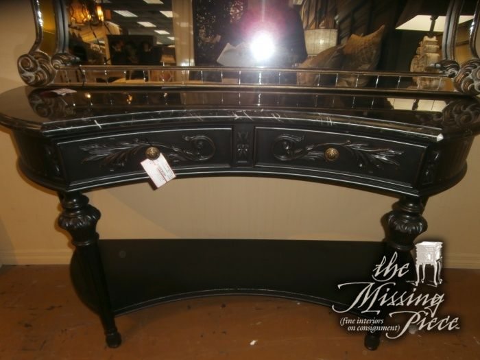 Drexel Heritage Concave Curved Console Table In Black And Gold
