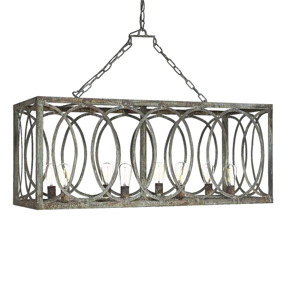 rectangular dining room light fixtures | French Iron Charles Rectangular Chandelier 8 Light in 2019 ...