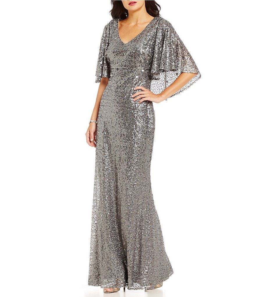 Ignite Evenings V Neck Back Cape All Sequin Gown Prom