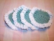Price $6.75 Light Green and white makes this set of scrubbies good for any season.This is a set of four hand crocheted face scrubbies, makeup removers...