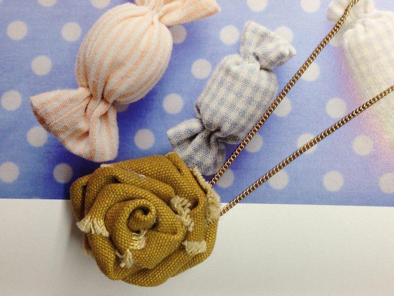 Fabric Chiffon Rosette Rose Gold Necklace from Little Heartwarming by DaWanda.com