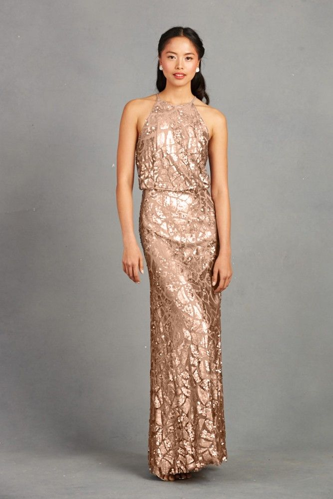 Donna Morgan Pailette Embellished Beading Decorate This Gown With Cutaway Halter Neckline Blouson Bodice And A Line Skirt