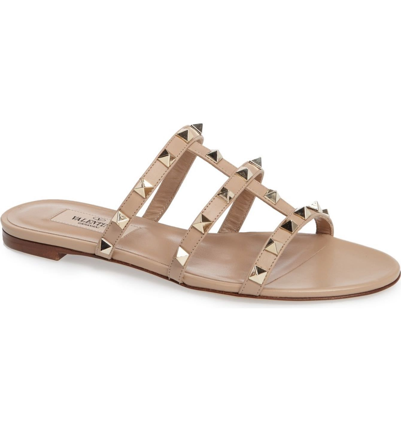 The best flat slide sandals for spring 2017! Love these VALENTINO Rockstud  Slide Sandal Camel