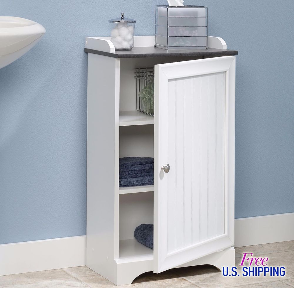 White Bathroom Cabinet Storage Free Standing Organizer Kitchen Floor ...