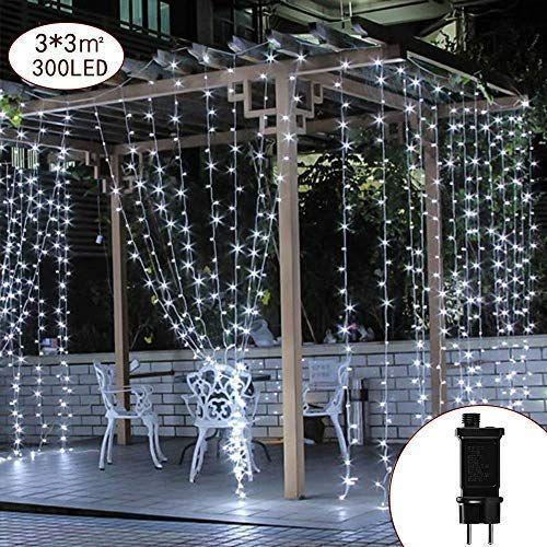 Led Weihnachtsbeleuchtung Balkon.Led Lichtervorhang Lichterwand 3m X 3m Lichterkettenvorhang 300 Leds