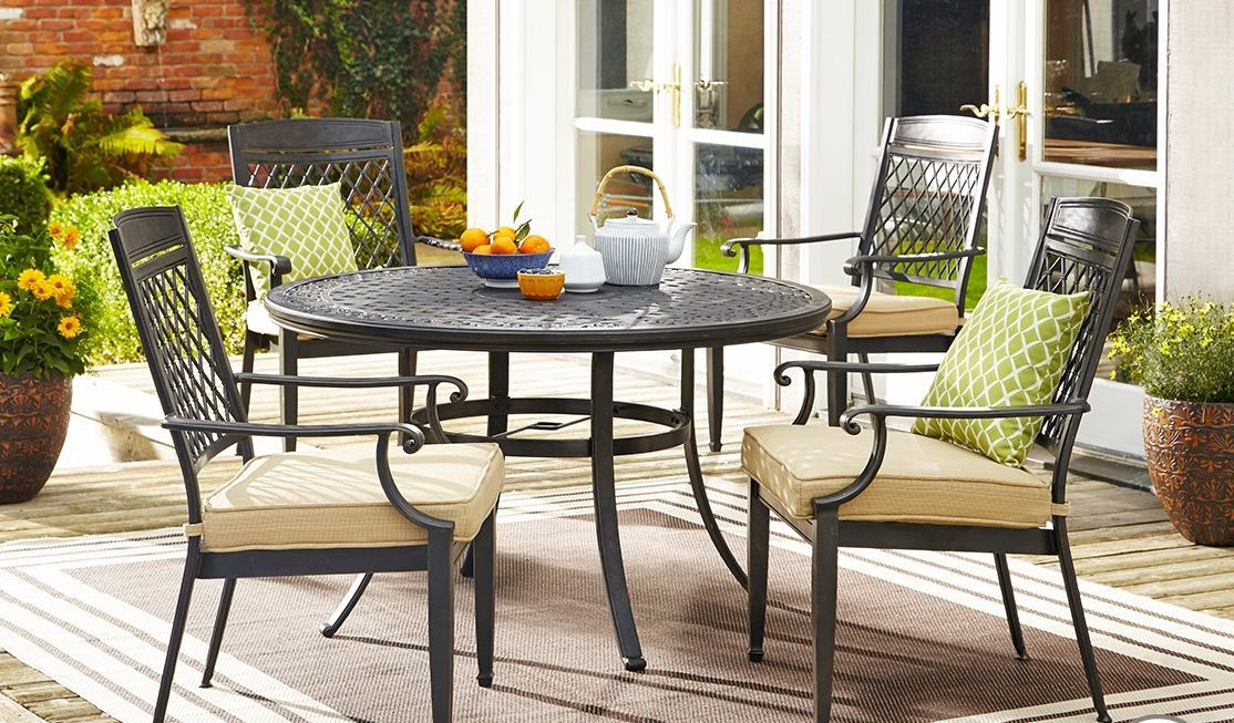The Canvas Covington Round Cast Patio Table Is Perfect For Summer Dinner Mycanvas Patio Dining Chairs Backyard Inspiration Outdoor Furniture Sets