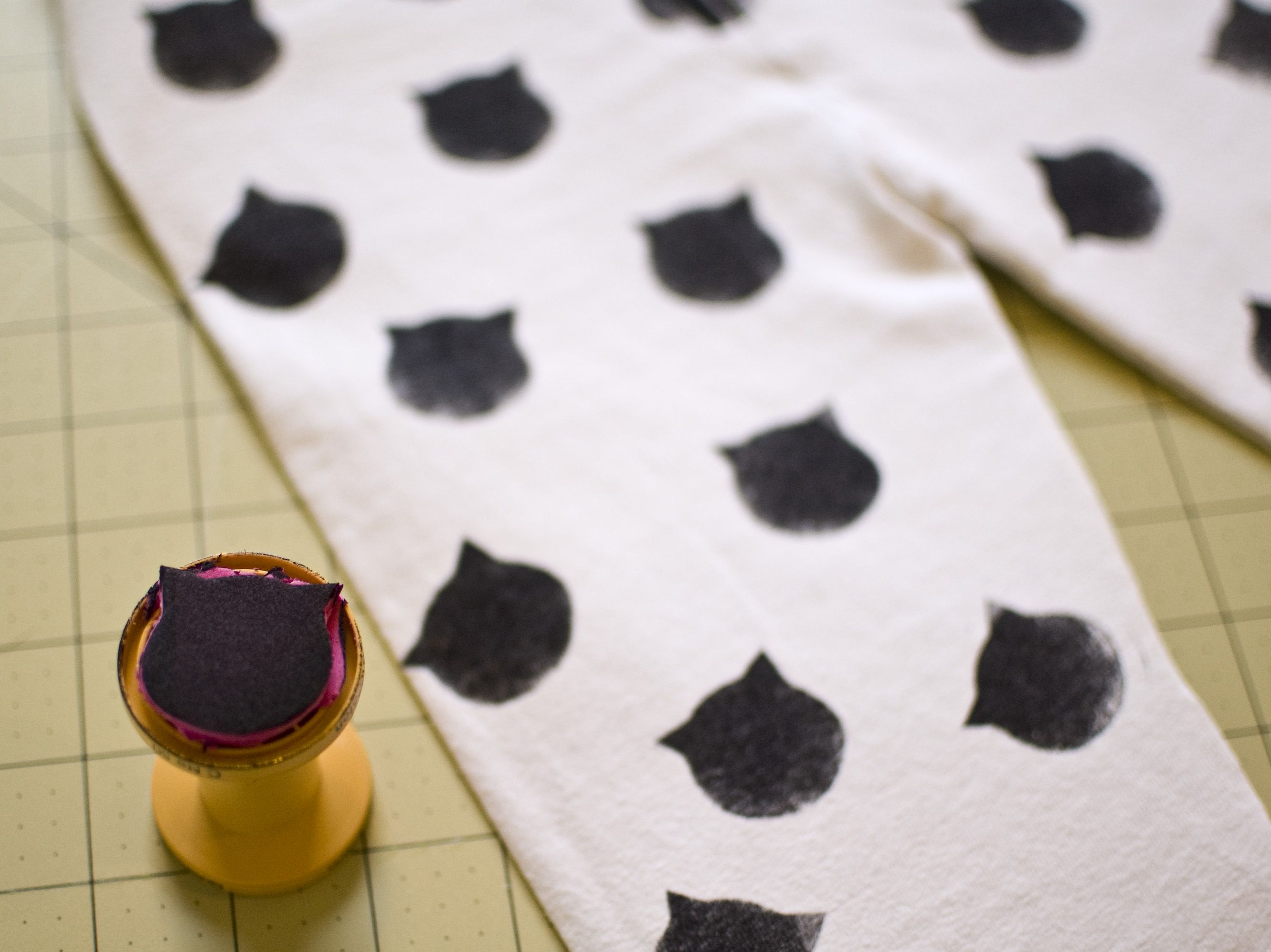 Cute cat stamped pj pants stamp made with foam mounted on an