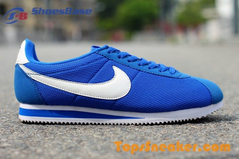 mens nike cortez white blue