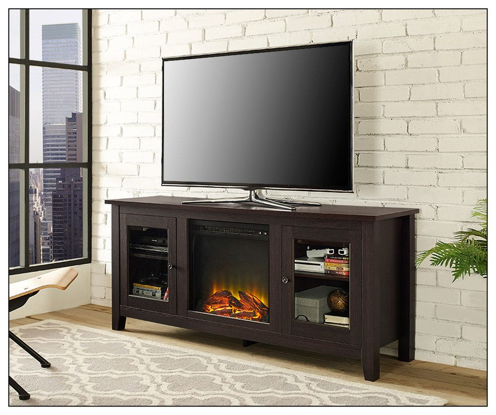 Classic flame belmont 60 quot tv stand with electric fireplace - Walker Edison Electric Fireplace For Most Flat Panel Tvs Up To