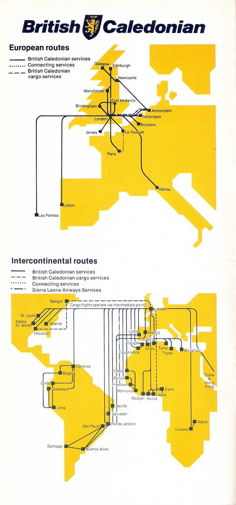 BRITISH CALEDONIAN AIRWAYS [1981] Route Map | Airlines... once upon ...