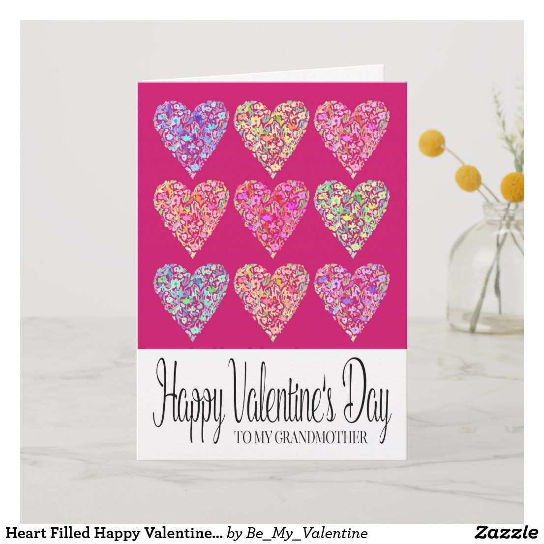 Heart Filled Happy Valentine's Day Grandmother Card