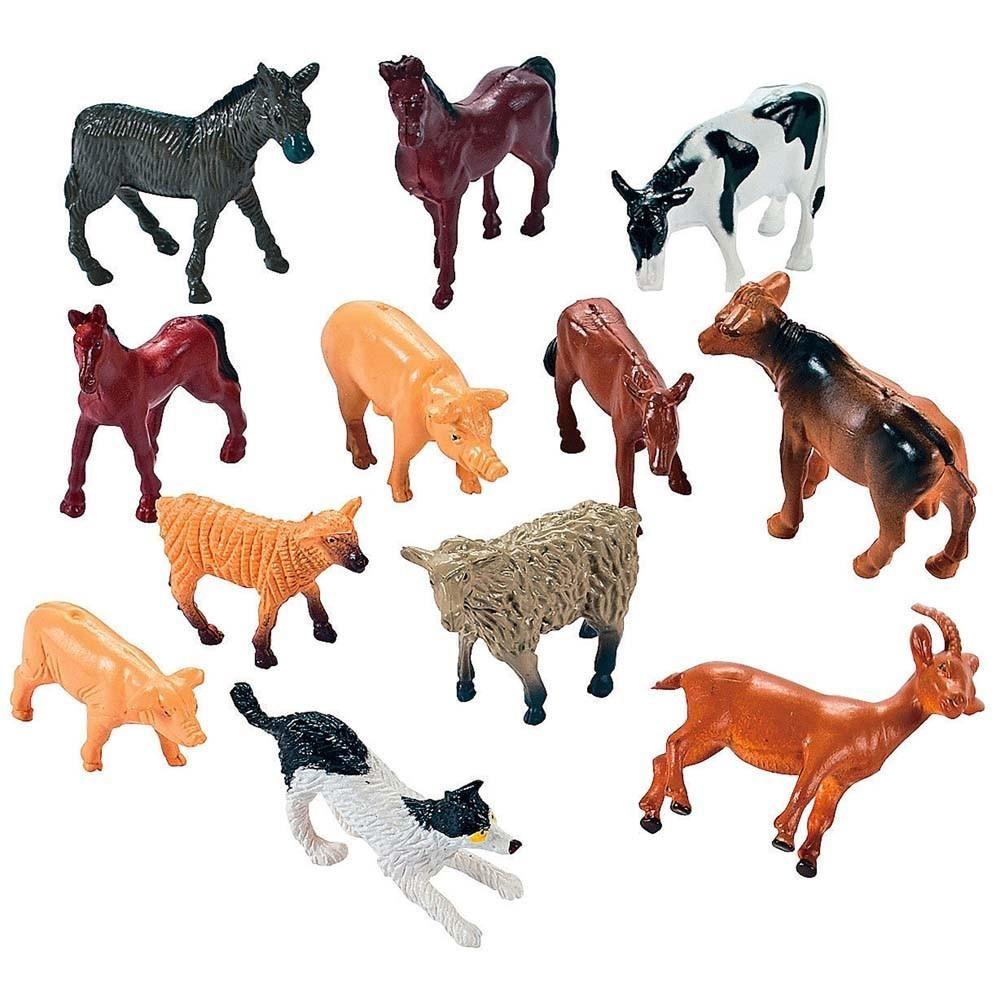 Set Of 12 Farm Animal Figurines Baby Farm Animals Farm Animal