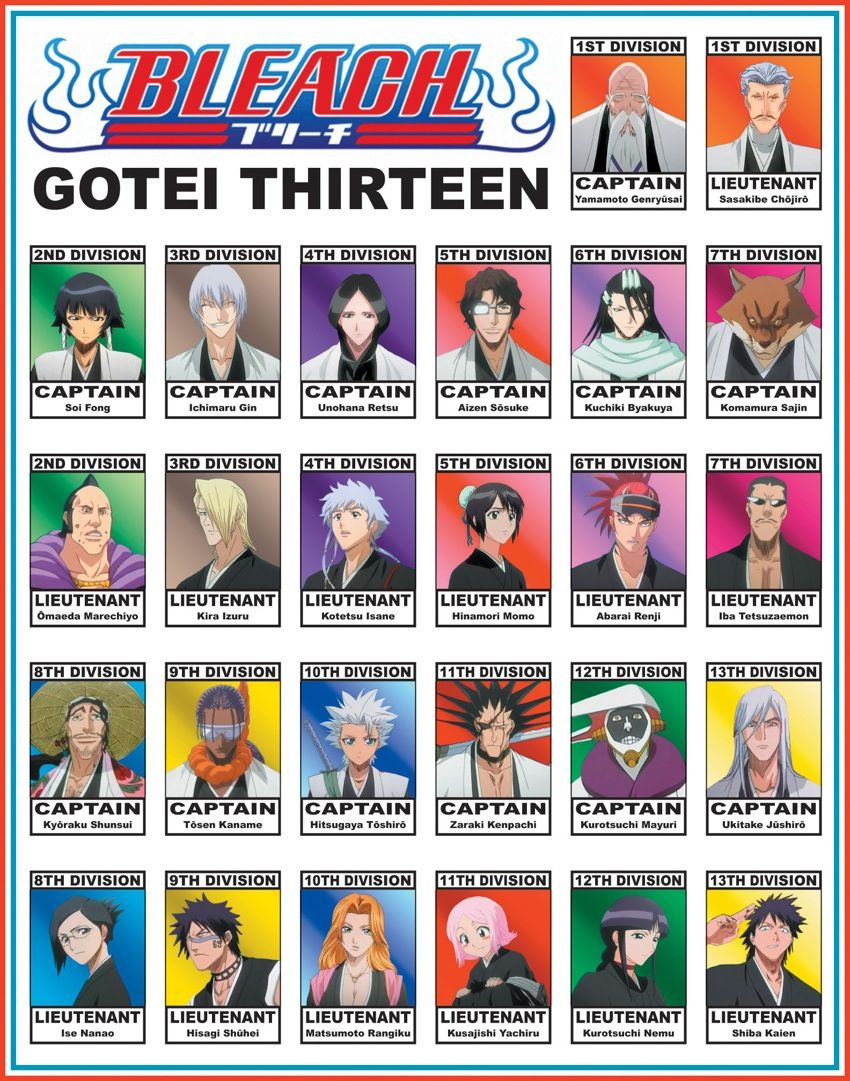 soul reaper captains and their lieutenants. Well, the original group from the start of Bleach