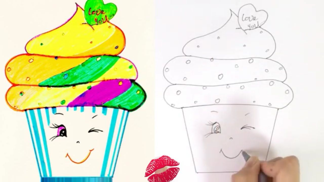 how to draw a cartoon cupcake cute easy drawing for kids