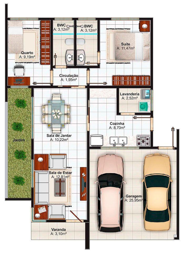 planos de casas modernas 2 habitaciones