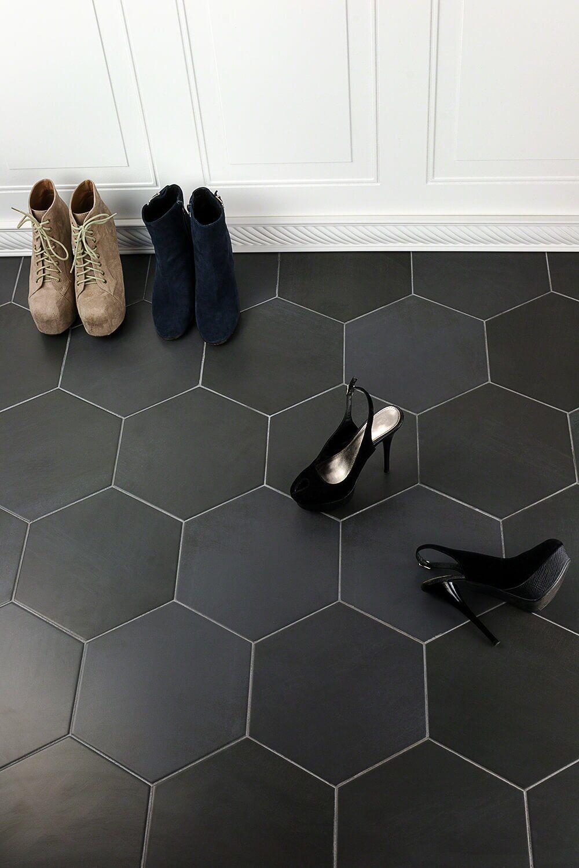Langston 10 X 11 Porcelain Concrete Look Wall Floor Tile Black Tile Bathrooms Tile Floor Black Hexagon Tile