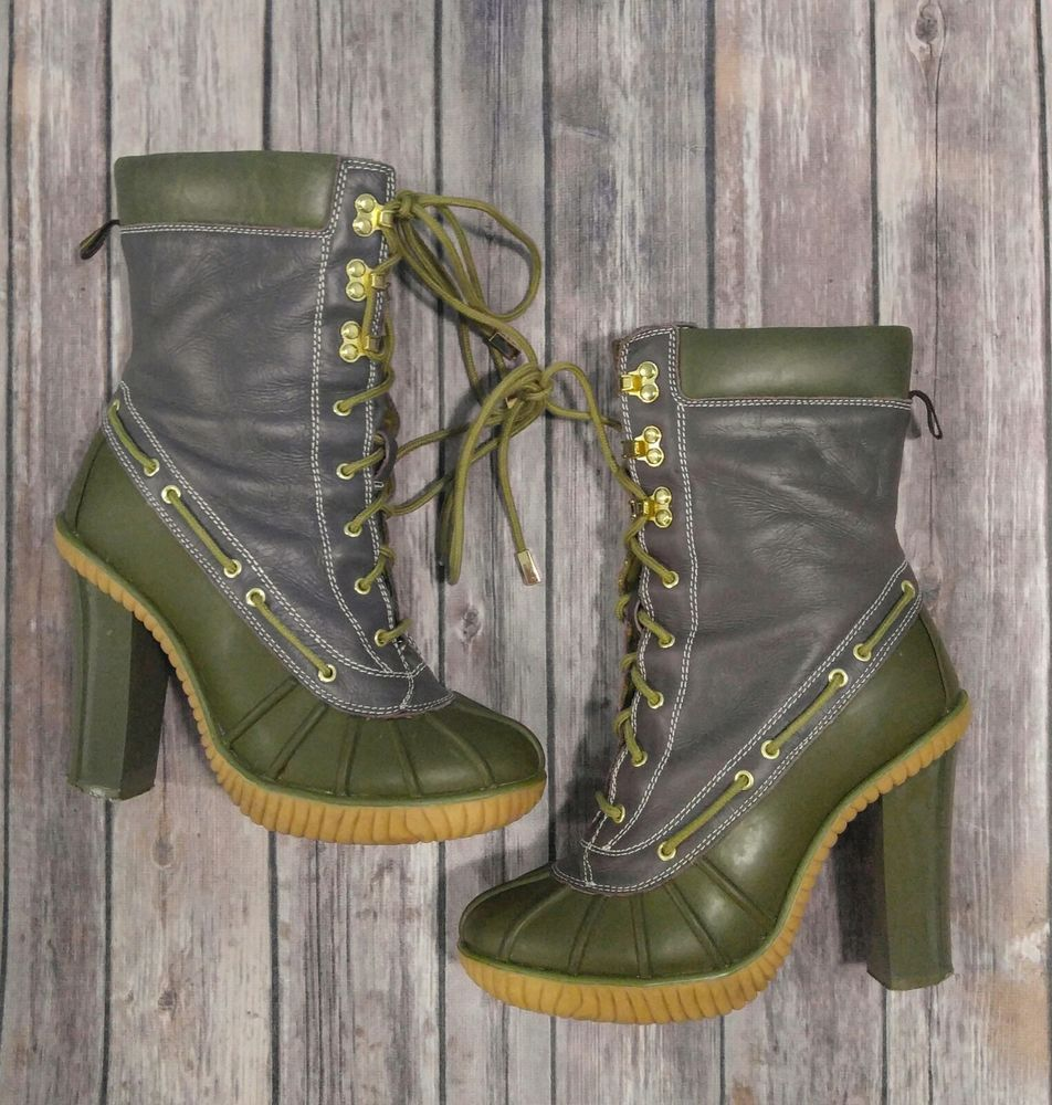 8b74f35bff1 MICHAEL KORS Slicker Lace Up Duck BOOTS Ladies size 8 Green Rubber ...