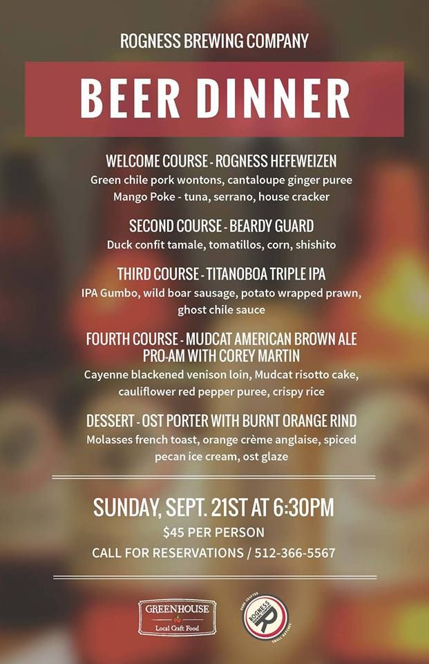 Rogness Beer Dinner Menu Craft Beer Austin Last Year in Marion - beer menu