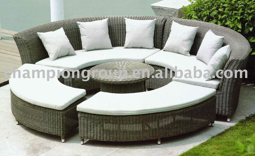 Round Sofa Set 2017 Rattan Furniture Outdoor 4 Piece Half