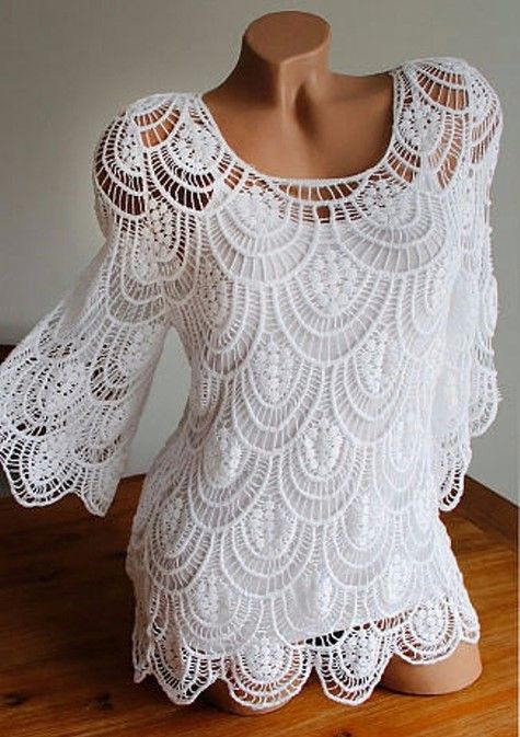 Beautiful white blouse | crochet | Pinterest | Ladies tops, Crochet ...
